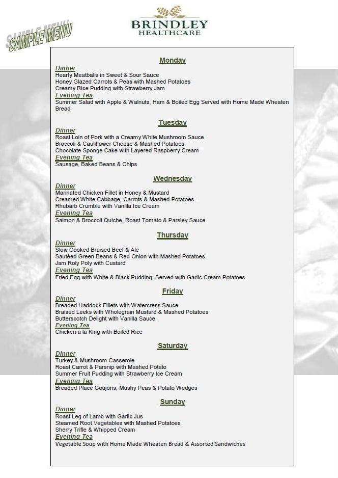 Brindley Healthcare Sample Weekly Menu